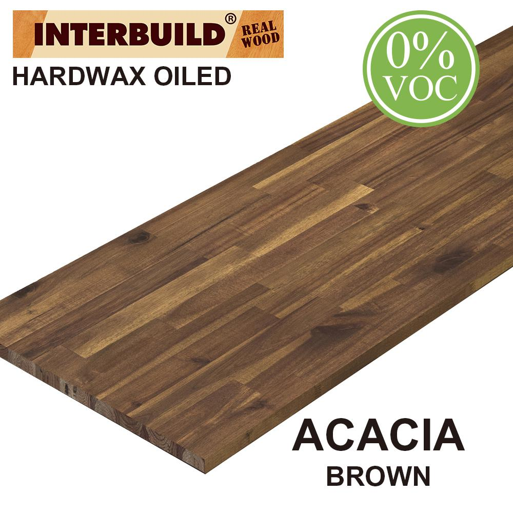 Interbuild Acacia 8 Ft L X 25 In D X 1 In T Butcher Block Countertop In Brown Oil Stain 668943 The Home Depot