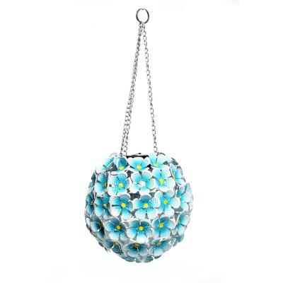 8 in. Tall Alpine Solar Metal Hanging Blue Hydrangea Ornament with White LED Lights