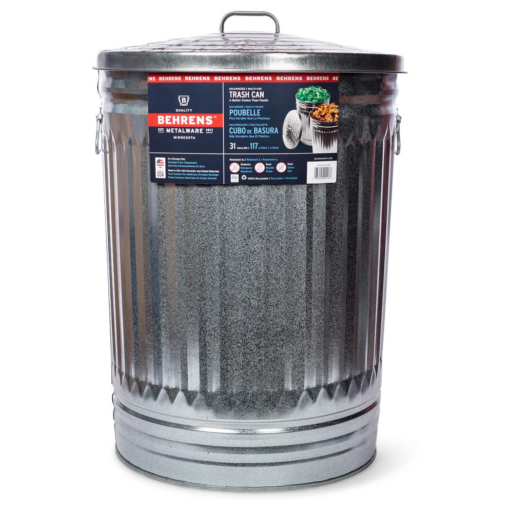 Behrens 31 Gal Galvanized Steel Round Trash Can With Lid 1270 The Home Depot