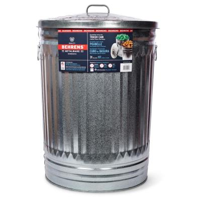 31 Gal. Galvanized Steel Round Trash Can with Lid