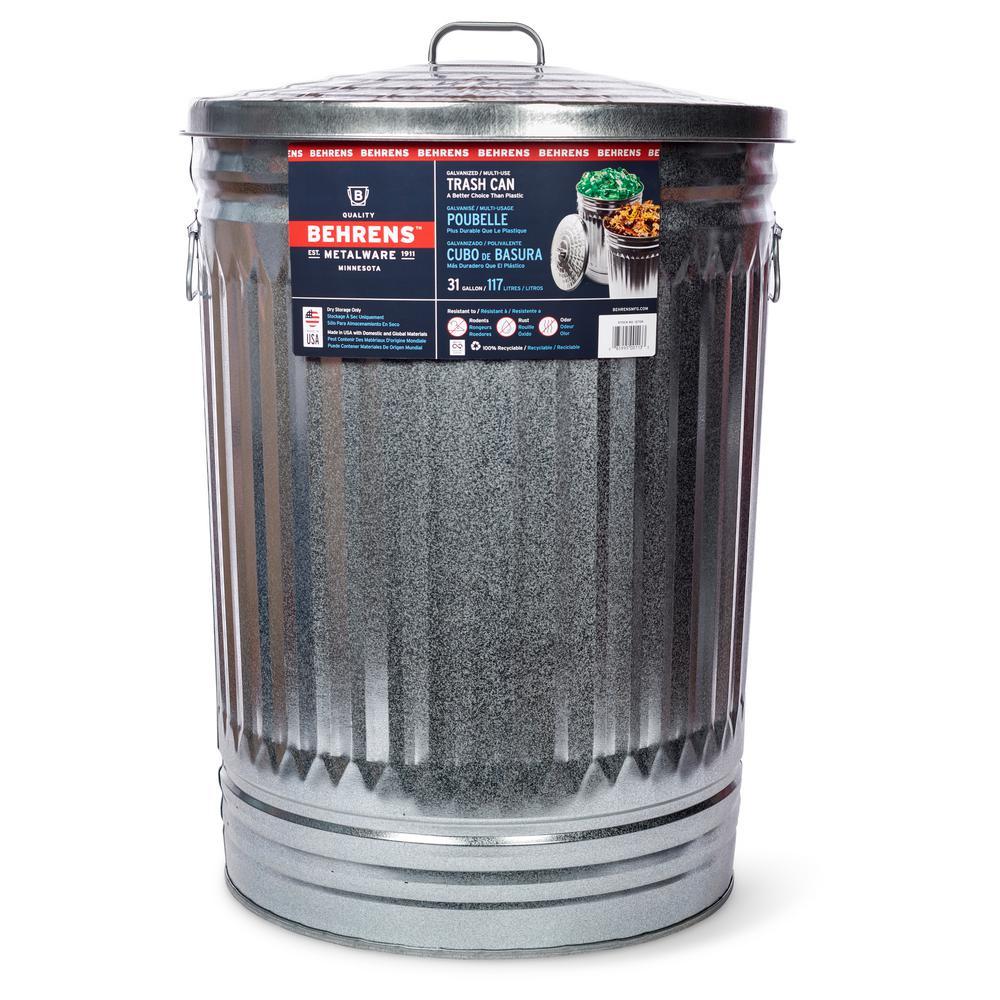 Behrens 31 Gal. Galvanized Steel Round Trash Can with Lid