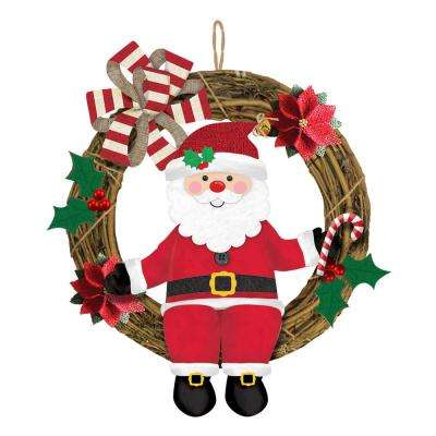 18 in. x 13.5 in. Christmas Santa Grapevine Wreath (2-Pack)