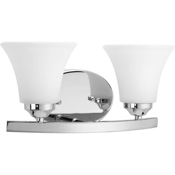 Adorn Collection 2-Light Chrome Bathroom Vanity Light with Glass Shades