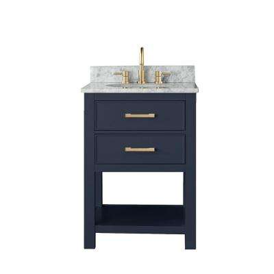 Brooks 25 in. W x 22 in. D x 35 in. H Bath Vanity in Navy Blue with Marble Vanity Top in White and White Basin