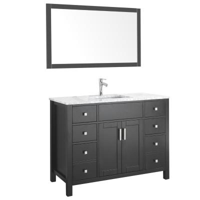 Amaya 48 in. Bathroom Vanity in Espresso with Marble Vanity Top in Cararra White with White Ceramic Basin and Mirror