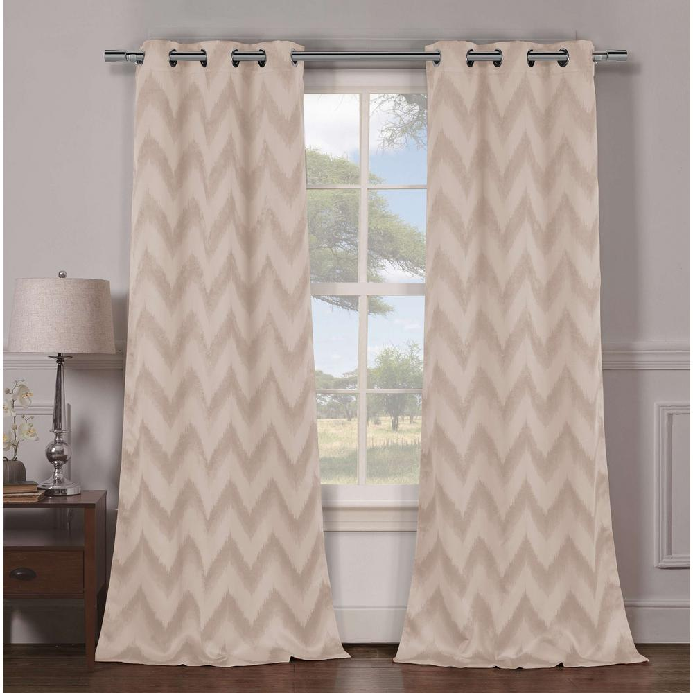 Blackout Lysanna 84 in. L Blackout Grommet Panel in Taupe (2-Pack)