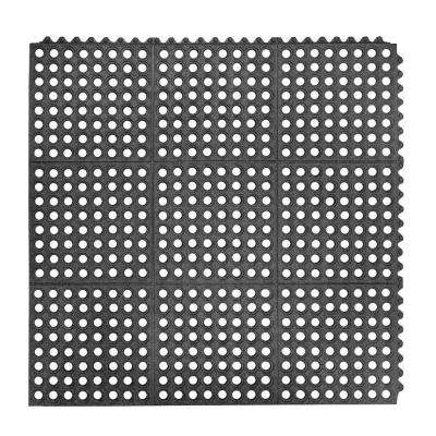 Niru Cushion-Ease GSII Gritted Black 3 ft. x 3 ft. Nitrile Rubber Anti-Fatigue/Safety Mat