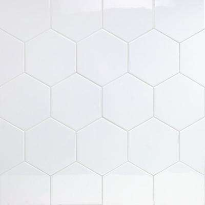 Bethlehem Hexagon White 5.9 in. x 6.96 in. x 8mm Polished Ceramic Wall Tile (38 pieces / 7.96 sq. ft. / box)