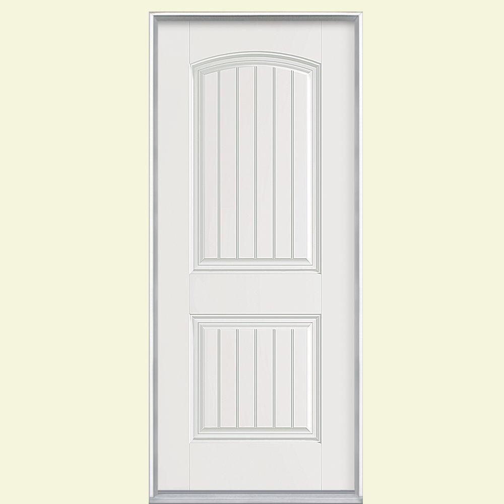 32 in. x 80 in. Cheyenne 2-Panel Left Hand Inswing Primed Smooth Fiberglass Prehung Front Door No Brickmold