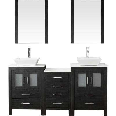 Dior 67 in. W Bath Vanity in Zebra Gray with Stone Vanity Top in White with Square Basin and Mirror and Faucet