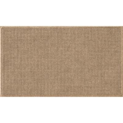 Squares 35 in. x 59 in. PET Polyester Doormat Camel