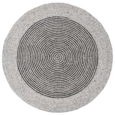 Braided Gray/Black 4 ft. x 4 ft. Round Area Rug