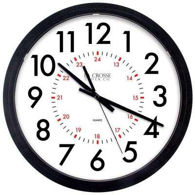 14 in. W x 14 in. H Info-Tech Black Round Commercial Analog Wall Clock