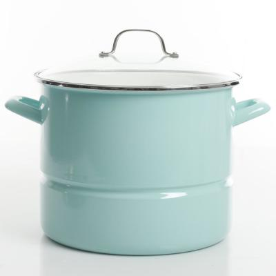 16 qt. Steel Stock Pot in Broadway Blue with Glass Lid