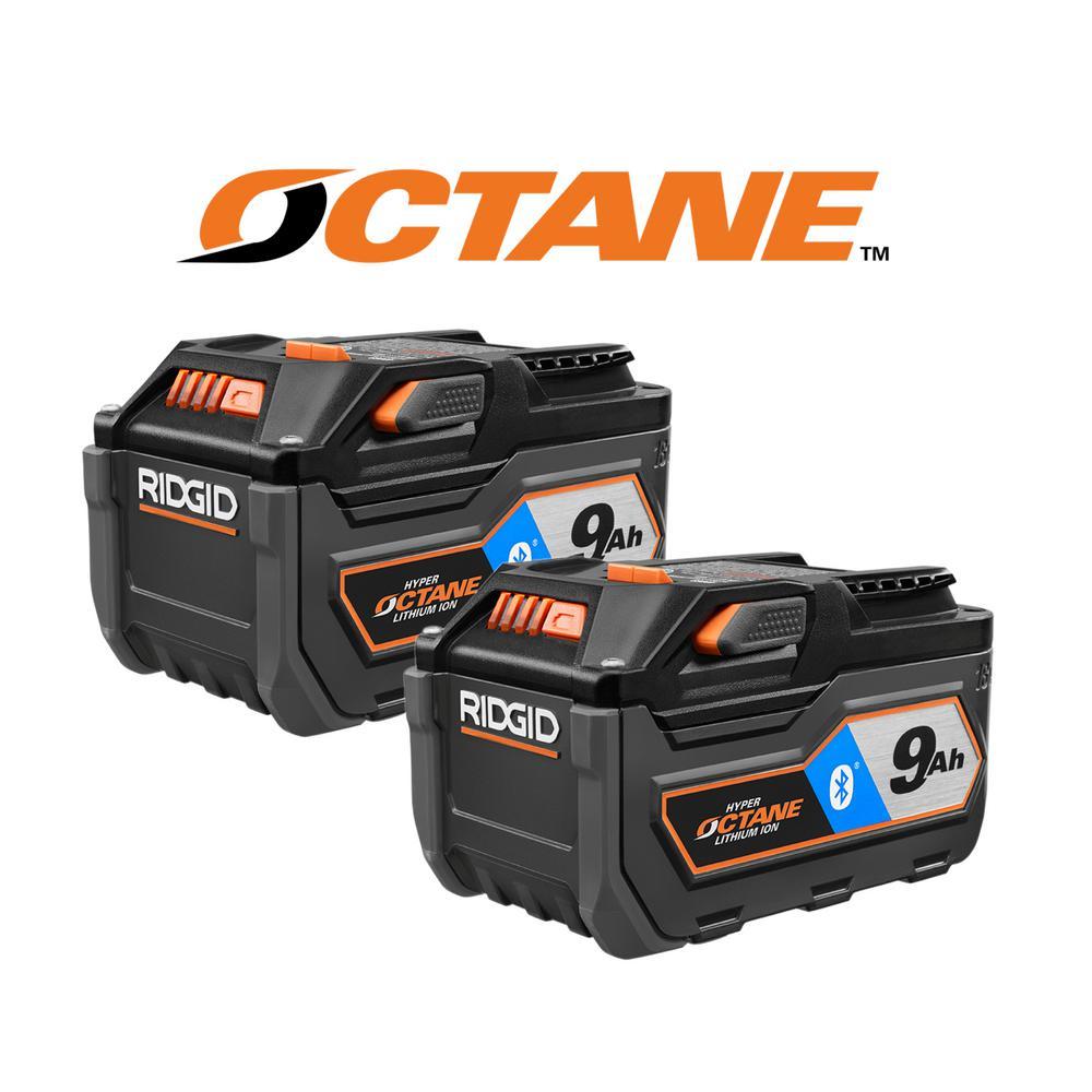 RIDGID 18-Volt OCTANE Bluetooth 9.0 Ah High Capacity Battery (2-Pack)