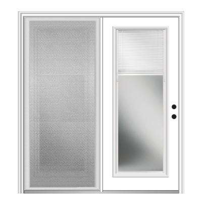 72 in. x 80 in. Primed Fiberglass Prehung Left Hand Internal Blinds Clear Glass Full Lite Hinged Patio Door with Screen