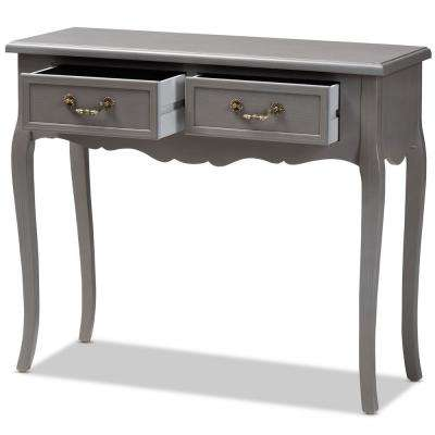 Capucine 2-Drawer Gray Console Table