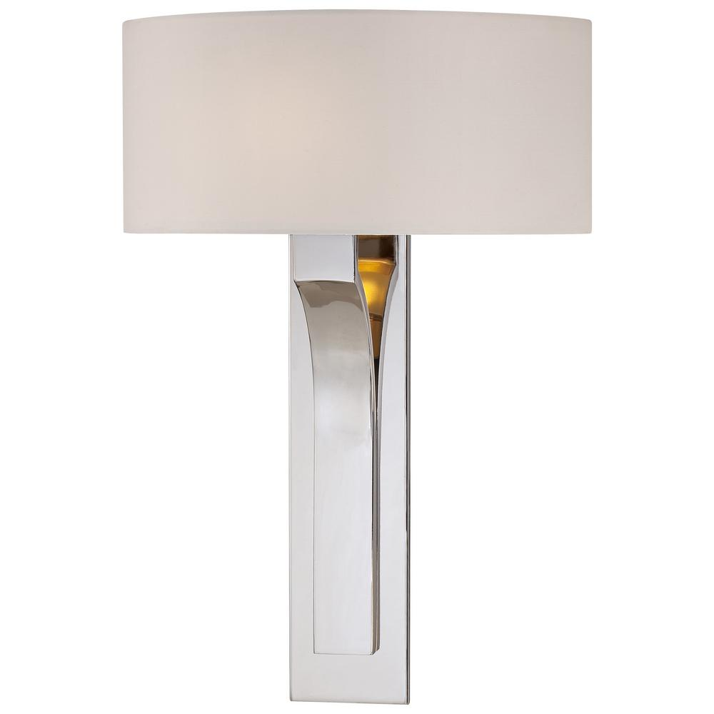 1-Light Polished Nickel Sconce with White Fabric Shade