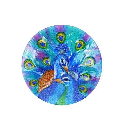 18 in. Two Peacocks Birdbath
