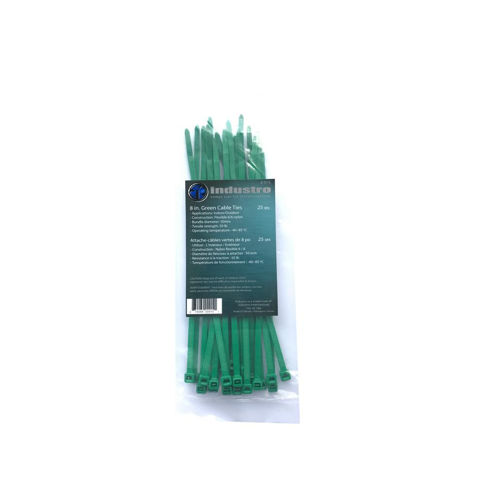 8 in. Green Cable Ties (25-Pack)