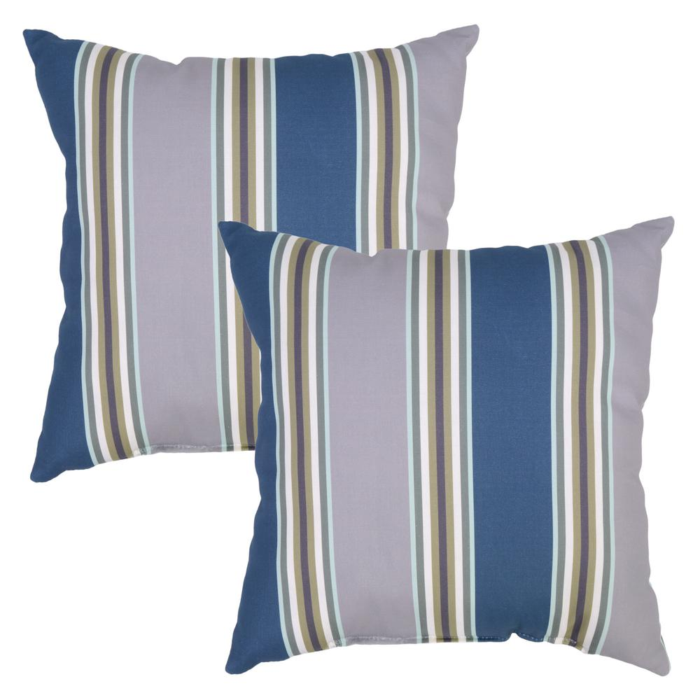 Charleston Stripe Square Outdoor Throw Pillow (2-Pack)