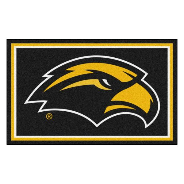 NCAA University of Southern Mississippi Black 4 ft. x 6 ft. Indoor Area Rug