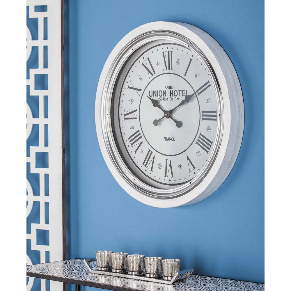 24 in. Modern Round Matte White Wall Clock
