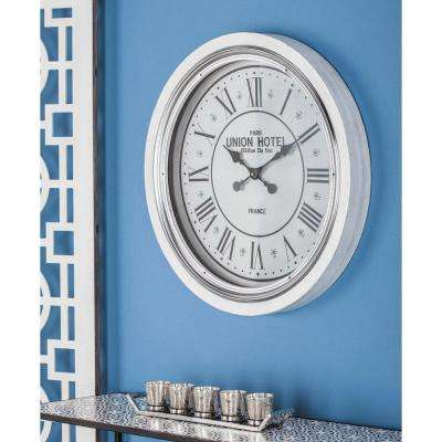 24 in. Modern Round Matte White Wall Clock