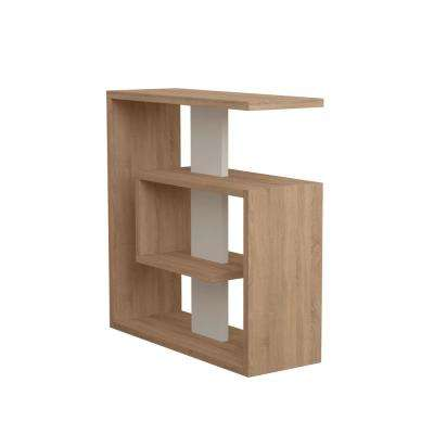 Stacy Oak and White Modern Side Table