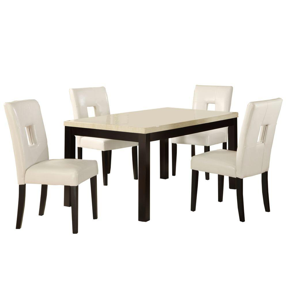 HomeSullivan 5-Piece 60 in. Faux Marble Top Dining Set with White Vinyl Chairs-DISCONTINUED