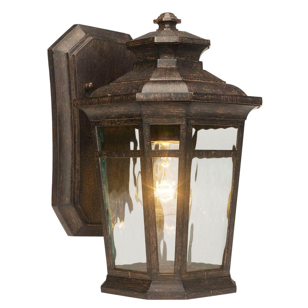 1light bronze outdoor wall lantern with amber glass