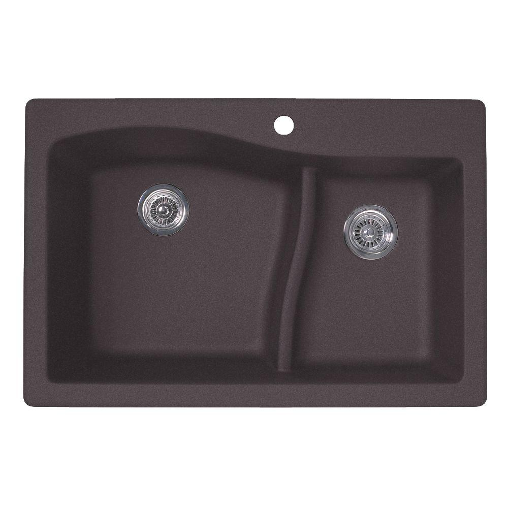 Granitequartz composite drop in kitchen sinks kitchen sinks drop inundermount granite 33 in 1 hole 6040 double workwithnaturefo