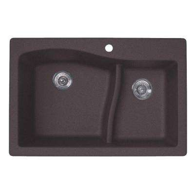 Drop-In/Undermount Granite 33 in. 1-Hole 60/40 Double Bowl Kitchen Sink in Nero