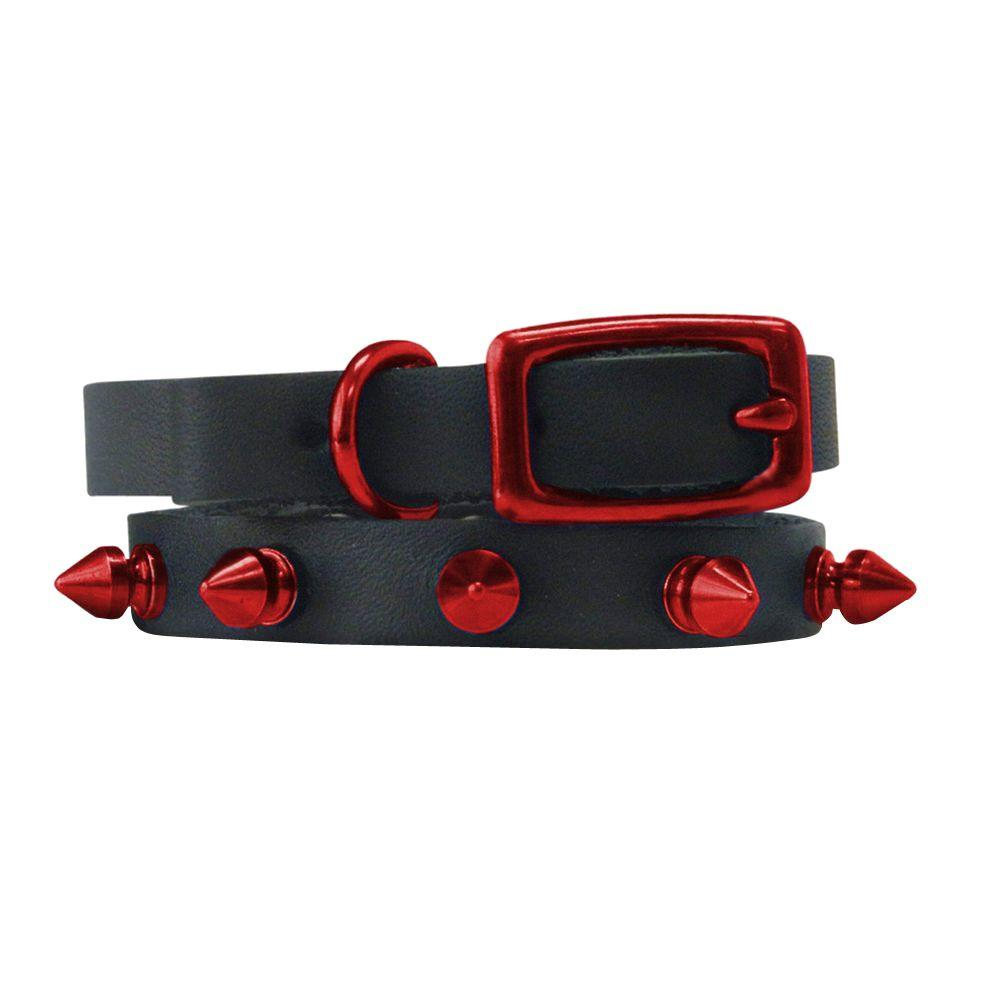 Platinum Pets 10 in. Black Genuine Leather Cat/Puppy Collar in Red Spikes