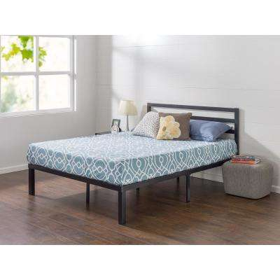Luis Quick Lock 14 Inch Metal Platform Bed Frame with Headboard, Queen