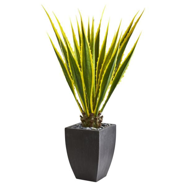 Indoor 4-Ft. Agave Artificial Plant in Black Planter