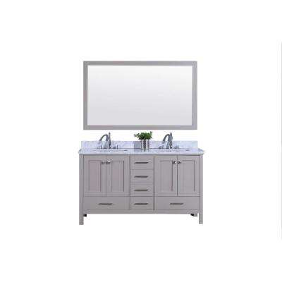 61 in. W x 22 in. D Vanity in Warm Gray with Carrara Marble Vanity Top in White and Gray and with White Basin and Mirror