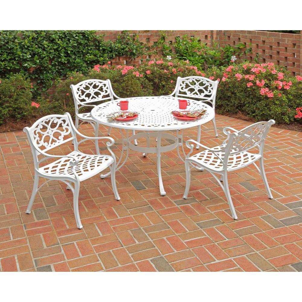 Homestyles Biscayne 48 In White 5 Piece Round Patio Dining Set