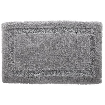 Stone Gray 17 in. x 25 in. Non-Skid Cotton Bath Rug with Border