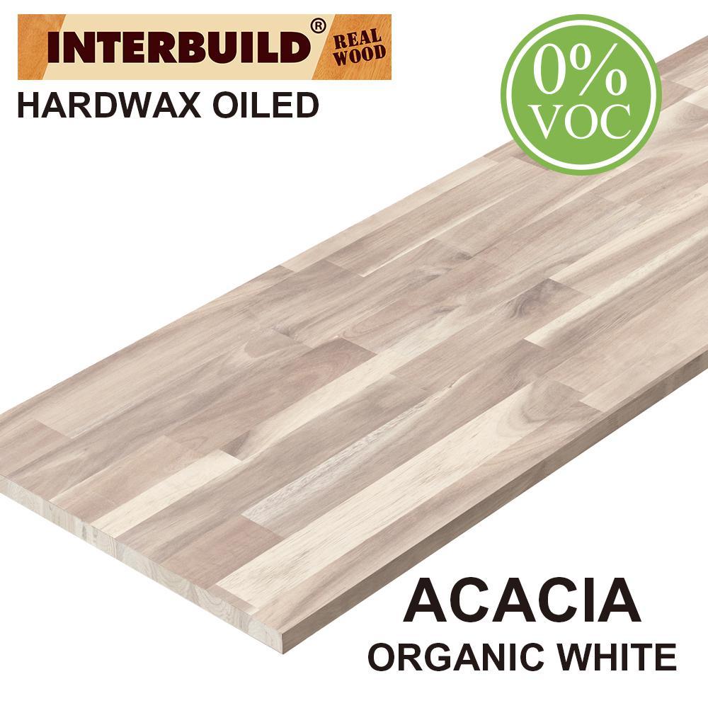 Acacia 8 ft. L x 25 in. D x 1.5 in. T Butcher Block Countertop in Organic White Stain