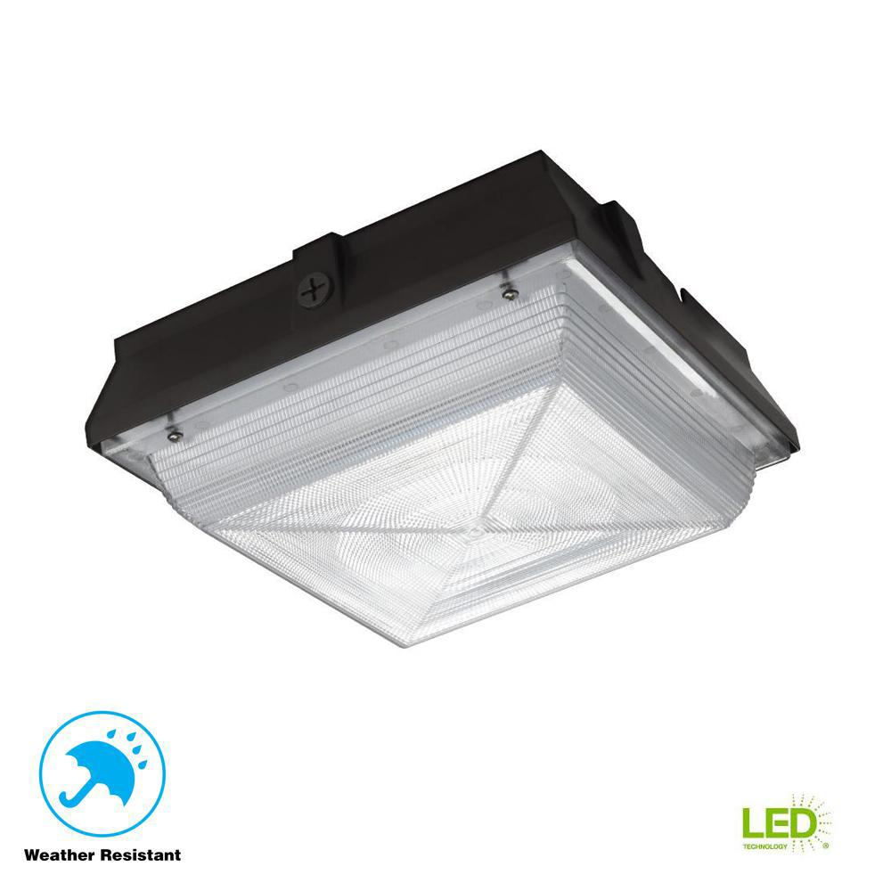 120-277-Volt Large Square Canopy Bronze Integrated LED Outdoor Flush Mount Light