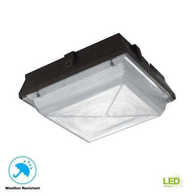 120-277-Volt Large Square Canopy Bronze Integrated LED Outdoor Flush Mount Light with 5200 Lumen
