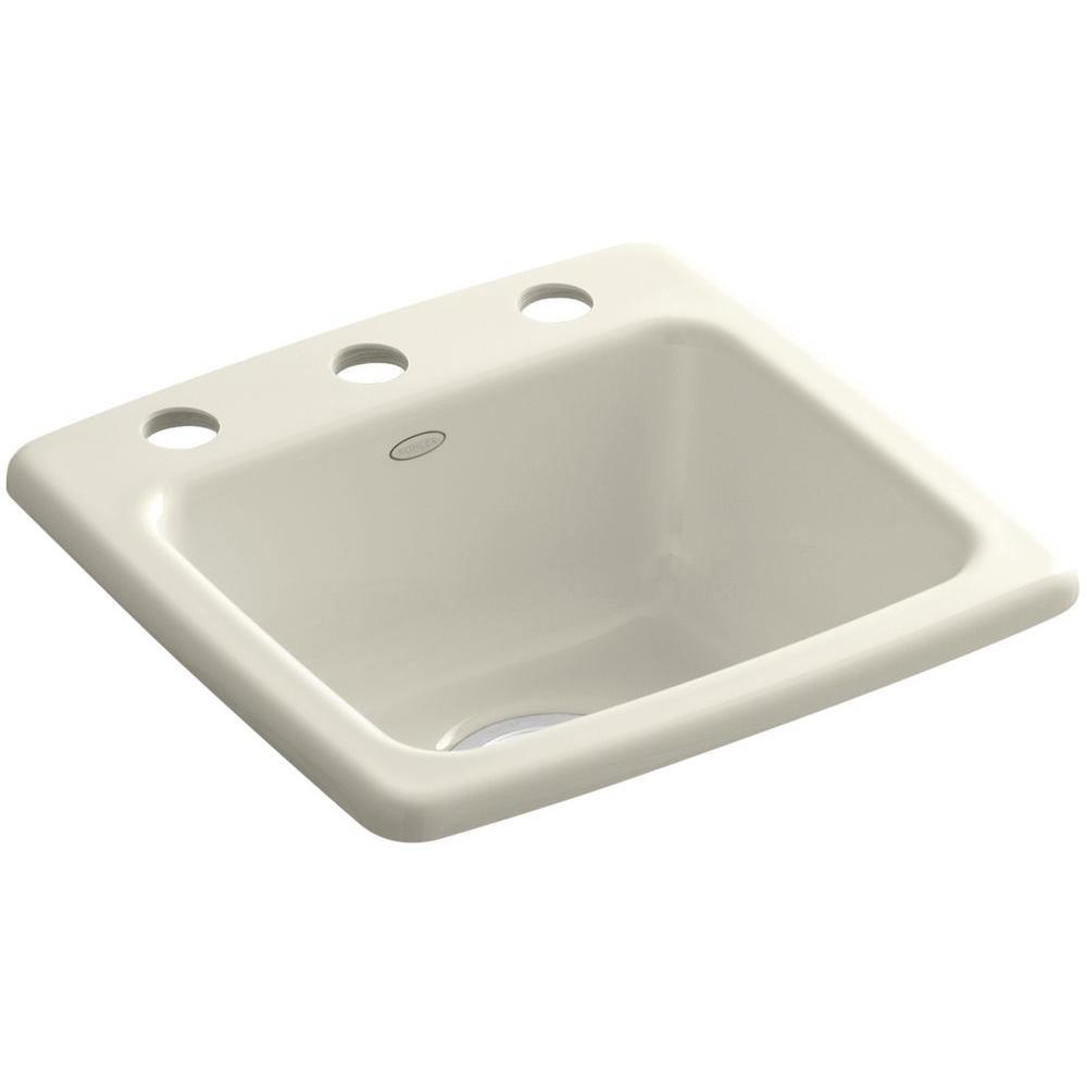 KOHLER Gimlet Drop-In Acrylic 15 in. 3-Hole Single Bowl Bar Sink in Biscuit