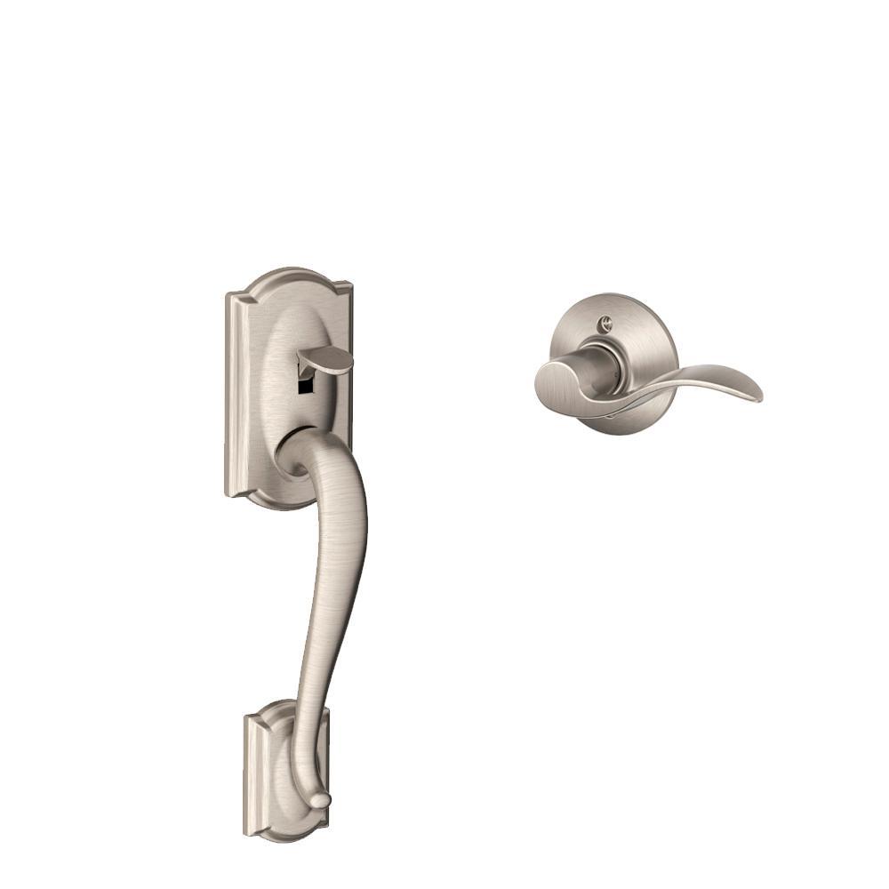 Camelot Satin Nickel Door Handle with Accent Lever