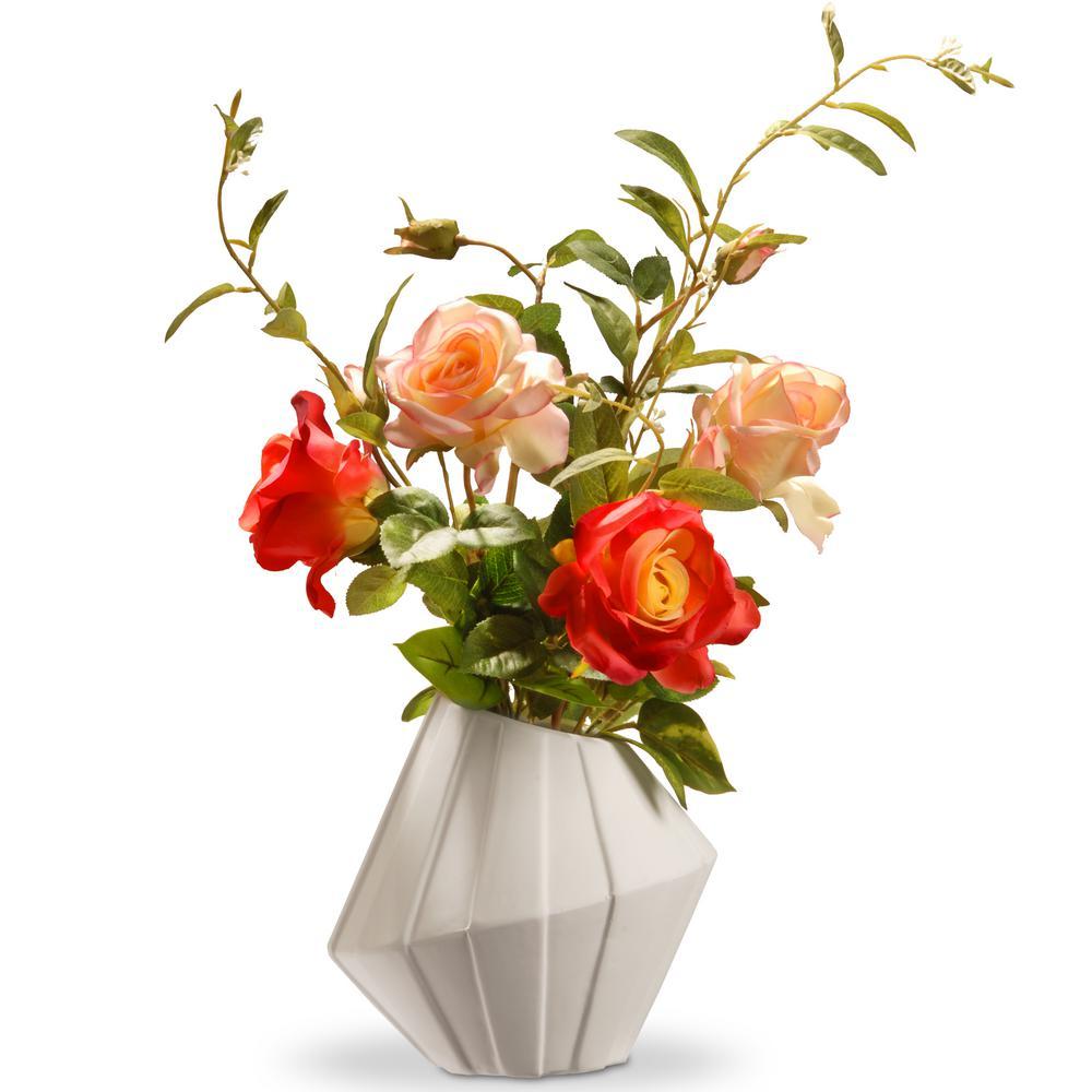 22 in. Pink Roses in Ceramic Pot