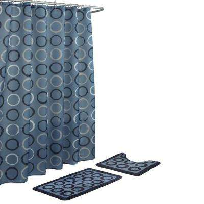 Terrell Light Blue/Navy 15-Piece Bath Rug and Shower Curtain Set