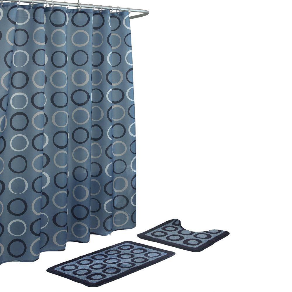 Terrell Light Blue/Navy 15-Piece Bath Rug and Shower Curtain Set