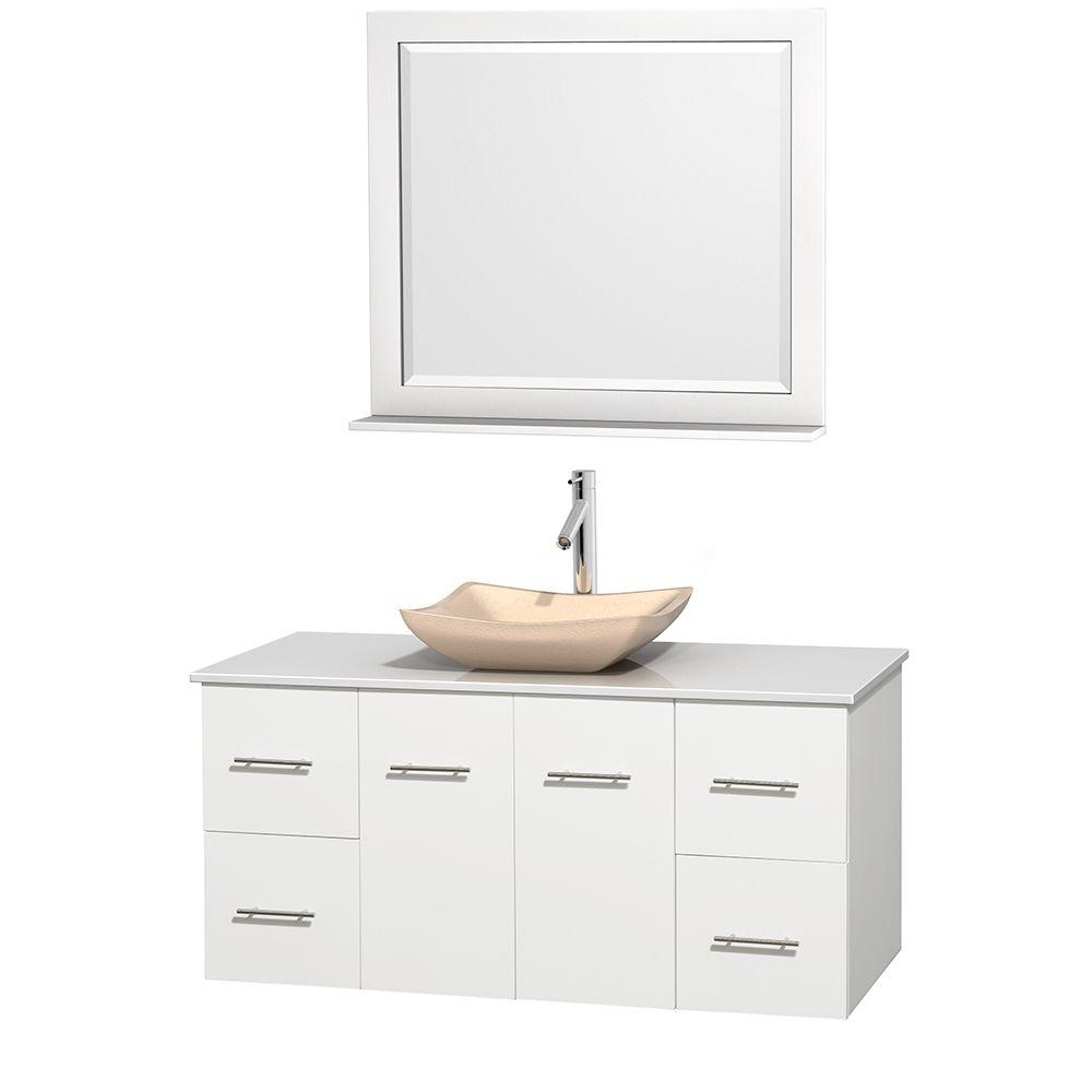 Wyndham Collection Centra 48 in. Vanity in White with Solid-Surface Vanity Top in White, Ivory Marble Sink and 36 in. Mirror
