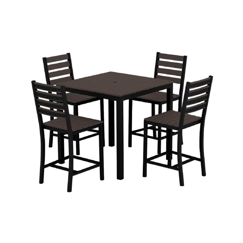 Loft Black 5-Piece Aluminum Outdoor Balcony Height Dining Set