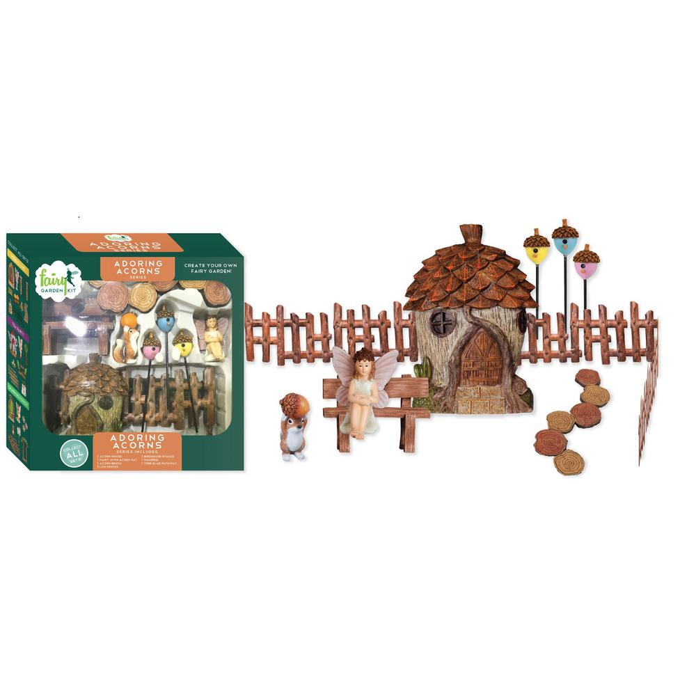 Arcadia Garden Products Adorning Acorns Polyresin Fairy Garden Kit (11-Piece) This Fairy Garden Kit will inspire your creativity. You can easily design a miniature garden scene and step into a world of fantasy. Fairy Garden Kits make it easy to design unique and delightful gardens. Imagine the possibilities.